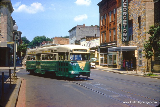 DC Transit 1543 on Route 20 in Georgetown on June 7, 1959. The Georgetown Theatre was located at 1351 Wisconsin Avenue NW, Washington, DC and opened in 1913. It closed in 1986 and was converted to retail. (Clark Frazier Photo)