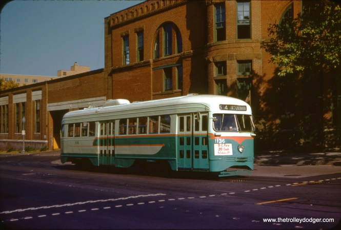DC Transit 1136 on Route 54 at the Navy Yard car barn on September 1, 1958. (Clark Frazier Photo)