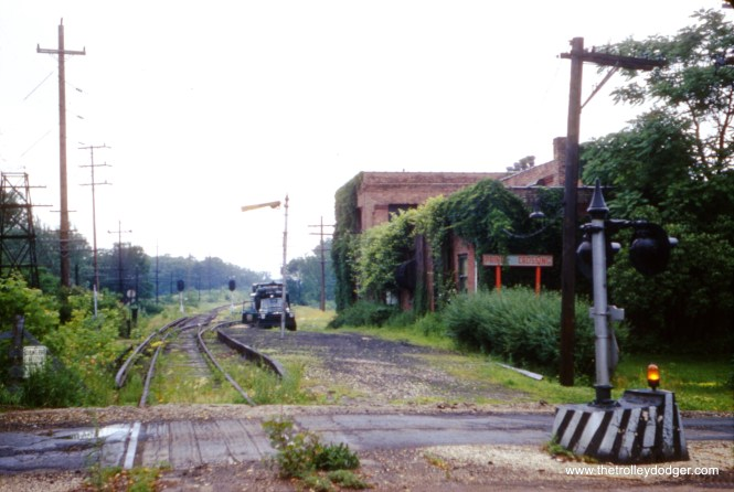 The Prince Crossing station on the Chicago, Aurora & Elgin, as it appeared on June 14, 1960, after abandonment.