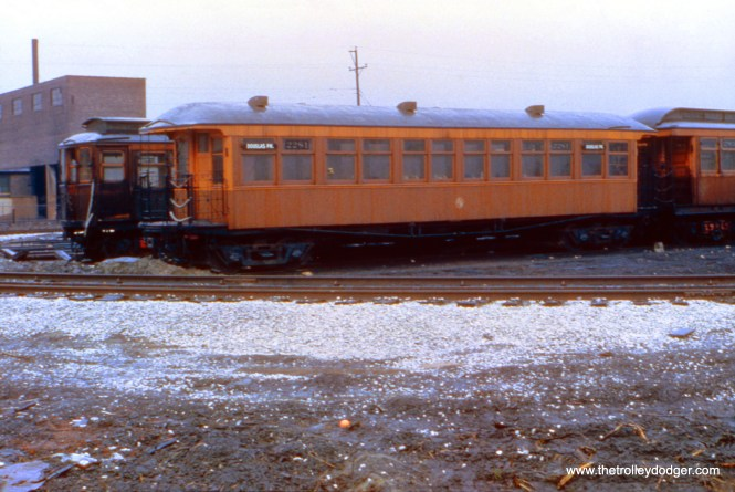 """CTA arched roof, open-platform car 2281 at 54th Avenue on the Douglas Park """"L"""" in March 1951. (Truman Hefner Photo)"""