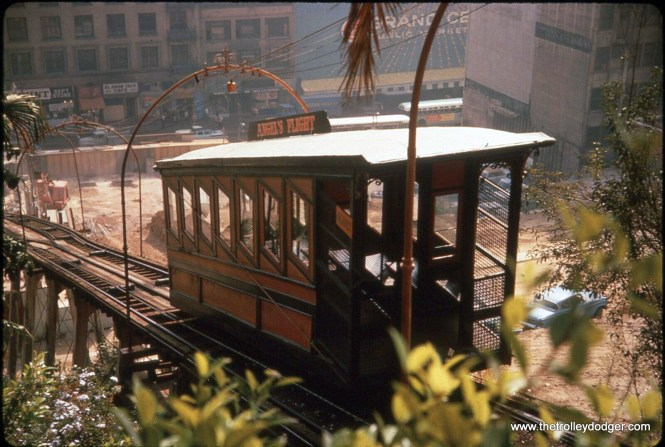 Angel's Flight in its original LA Bunker Hill location, probably circa 1969. The funicular opened in 1901, but was dismantled and put into storage for several years not long after this picture was taken, as the hill it climbed was razed. It has since reopened in a different location.
