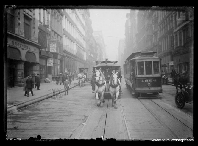 """This original glass plate negative, showing the last New York City horse car line circa 1907, recently sold on eBay for $539. The location is Broadway looking north just past Broome Street. The horse car line was abandoned in 1917, by which time it had few passengers as was a """"franchise run."""""""