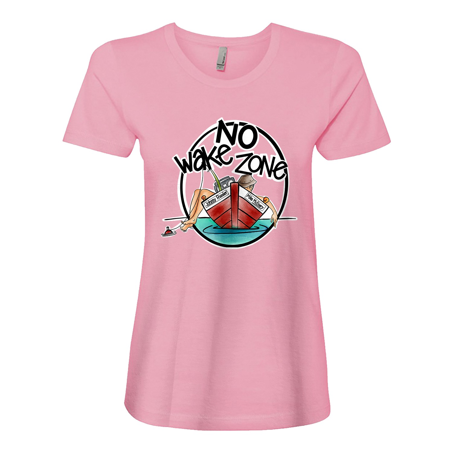 Mike McEnery – Johnny Russler No Wake Zone Ladies Fitted Tee, The Troprock Shop