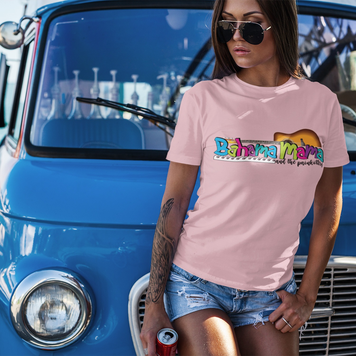 Bahama Mama and the Painkillers Logo Womens Fitted tee, The Troprock Shop