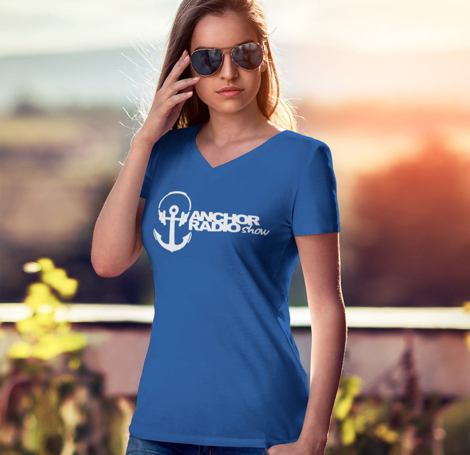 Anchor Radio Womens Vneck Fitted Tee, The Troprock Shop
