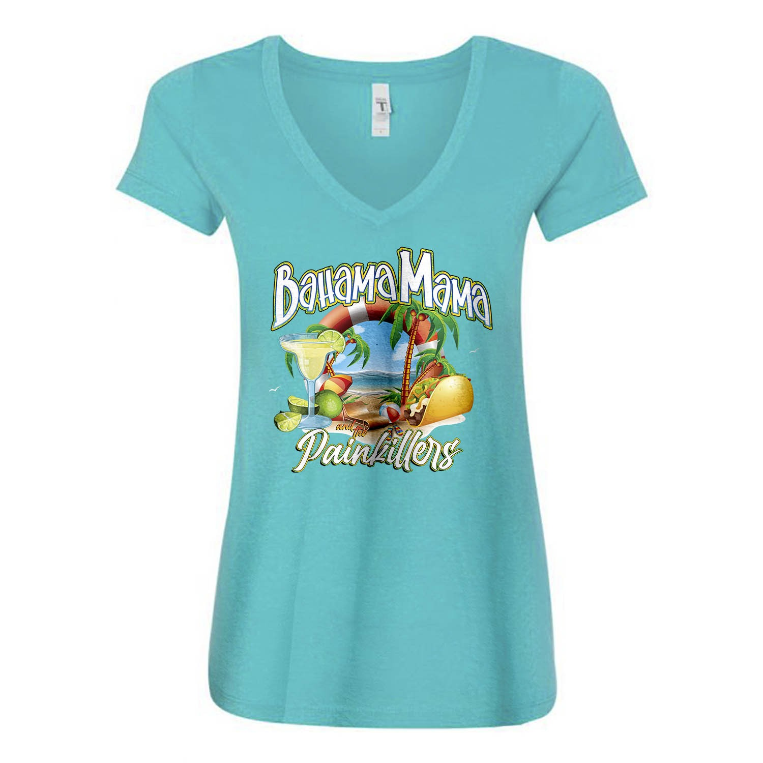 Bahama Mama and the Painkillers Double T Womens Vneck Fitted Tee, The Troprock Shop