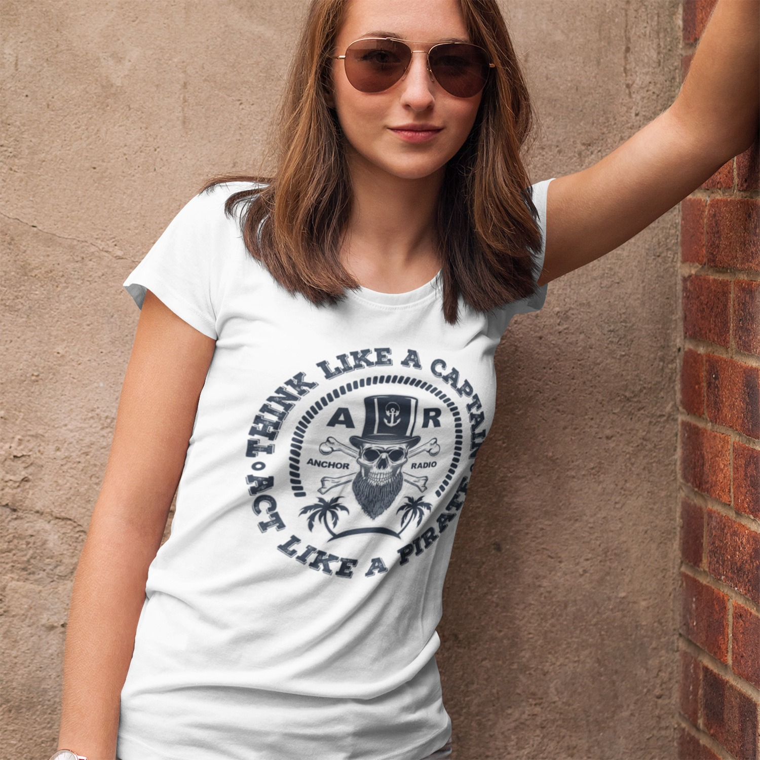 Anchor Radio Show Pirate Ladies Fitted Tee, The Troprock Shop