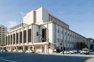 An image of the San Mateo County Hall Of Justice & Records in Redwood City, California. The Redwood City courthouse was built in 1955 and expanded in 1971. This image © Capitolshots Photography, ALL RIGHTS RESERVED.