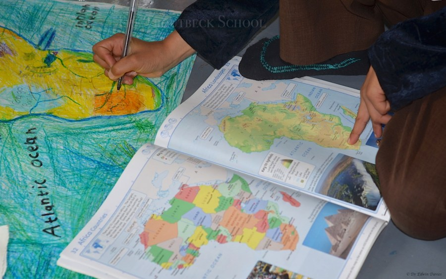 Drawing a physical map of Africa   The Troutbeck School Drawing a physical map of Africa