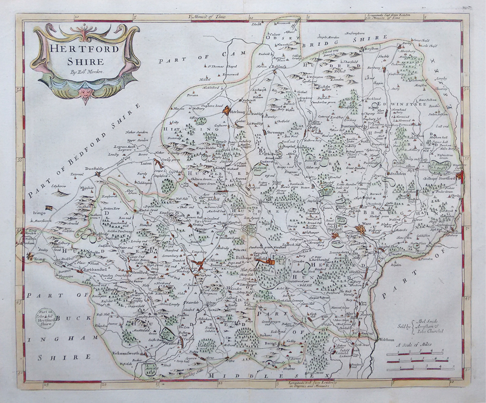 Image of a map of Hertford, England from 1695.