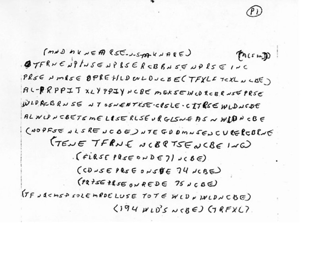 Photo of McCormick Cipher Page One