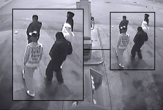 still photo of footage of suspects in Devon Allaire-Bell murder