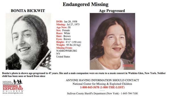Missing person age progression Bonnie Bickwit