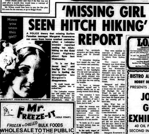 Margaret Rosewarne Disappeared Hitchhiking