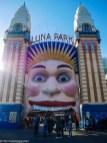 The smiling entrance of Luna Park Sydney