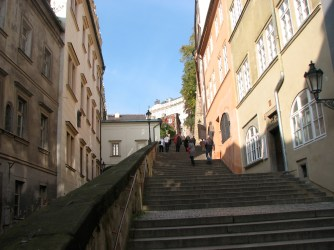 The stairs leading up to Prague Castle from Mala Strana