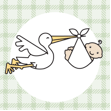 drawing of stork carrying baby