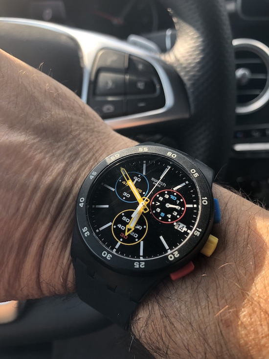 Swatch BLACK-ONE Chronograph color your world (courtesy thetruthaboutwatches.com)