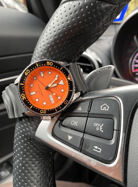 Seiko Diver in orange (Icourtesy thetruthaboutwatches.com)