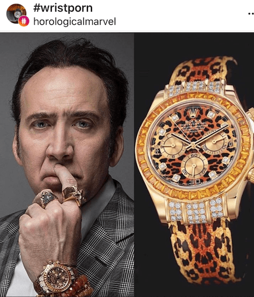 Nicholas Cage and Rolex (courtesy instagram.com)