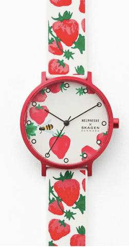 Helmstedt x Skagen Aaren Three-Hand Strawberry Print White Silicone 36mm Watch