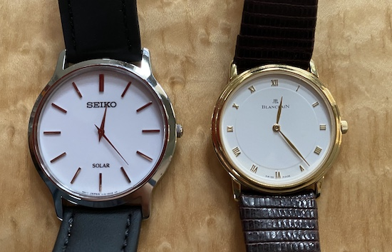 Seiko Solar dress watch and Blancpain dress watch