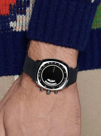 Gucci GG Grip Rubber Strap Watch on wrist