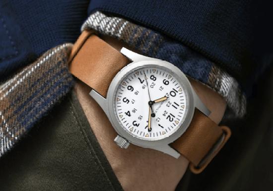 Hamilton hand-wound watch on hand