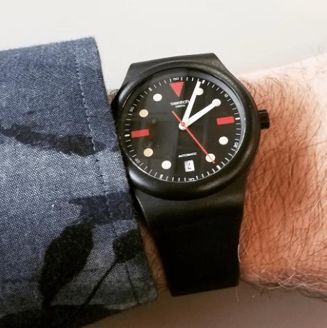 Swatch Sistem51 Hodinkee Generation 1986 on wrist