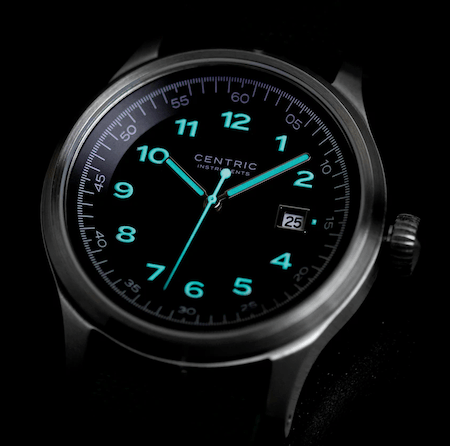 Centric Instruments Lightwell Field Watch MkII close up