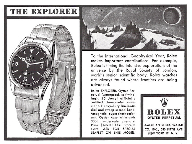 Rolex value: Explorer ad