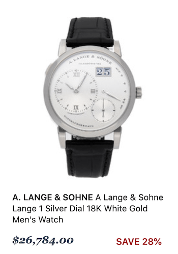 A Lange & Sohne Lange 1 Silver Dial 18K White Gold Men's Watch - watch depreciation