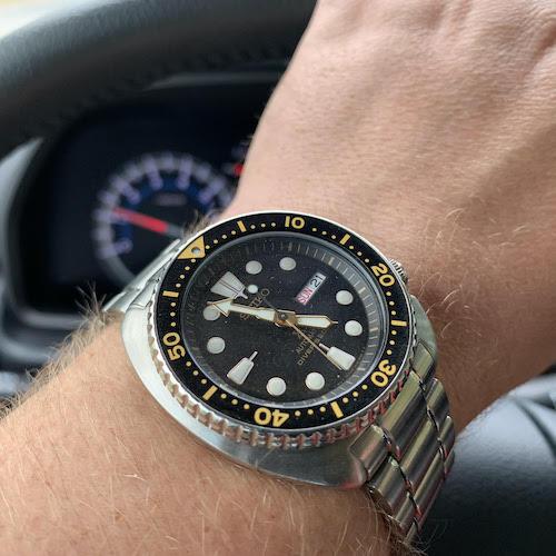 Seiko Turtle on wrist