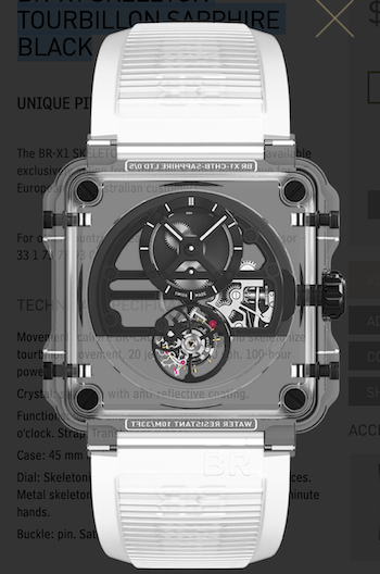 Extremely expensive watch: Bell & Ross BR-X1 Skeleton Tourbillon Sapphire Black