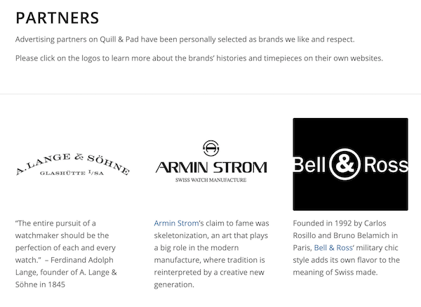 Watch websites - Quill & Pad partners watch brands
