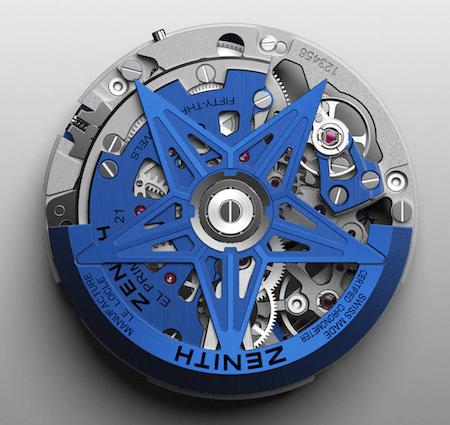 Zenith Defy 21 BCB movement in blue