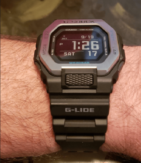 G-SHOCK GBX-100 at the restaurant table