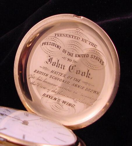 18k Solid Gold U.S. Grant Presidential Hunt Case Pocket Watch c.1873 Near Mint