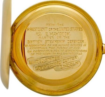 The Waltham Defender Presidential Presentation Pocket Watch engraving