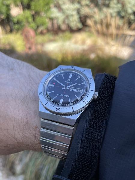Todd Snyder X Timex Q Bracelet on wrist