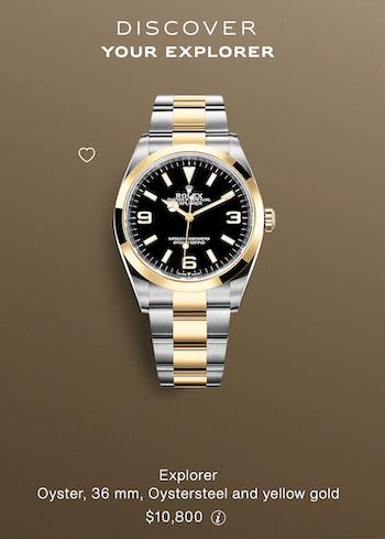 Gold Rolex Explorer price