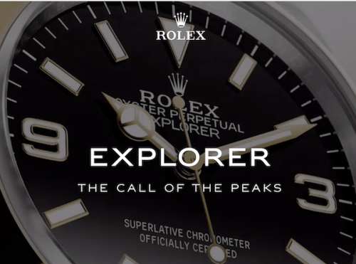 gold Rolex Explorer call of the peaks