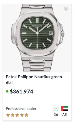 Green Dial Nautilus 5711 top shot