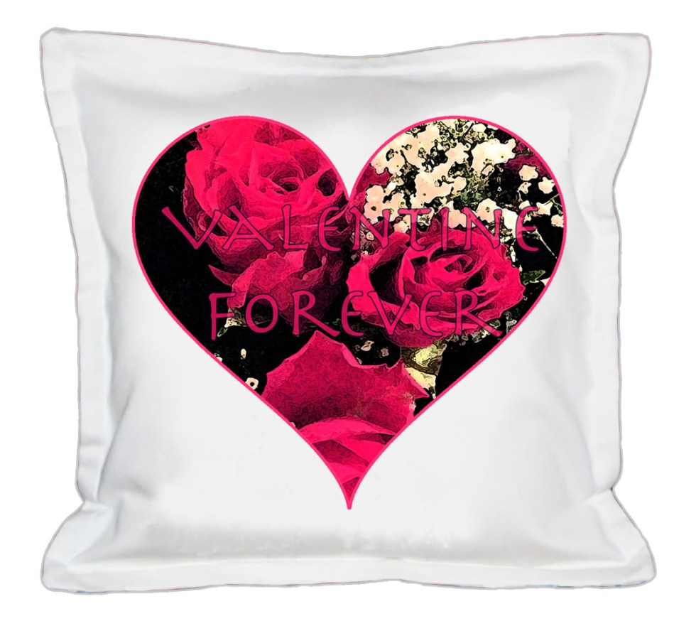 White Cushion V Roses