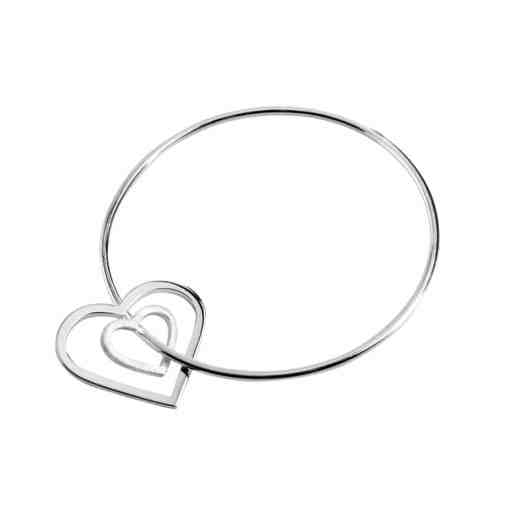 CL198 - Eternity double heart sterling silver bangle