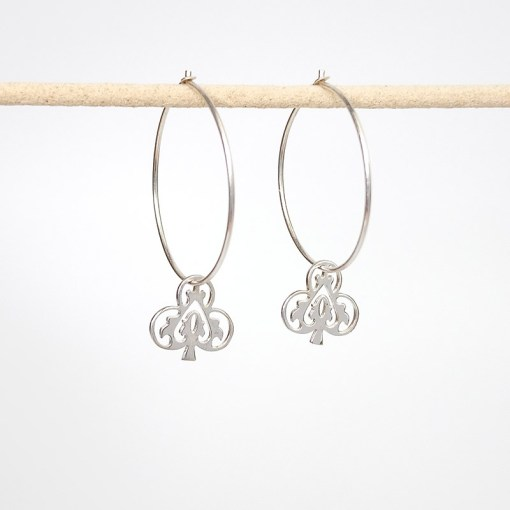 Handmade Sterling Silver - Ace of Club Earrings