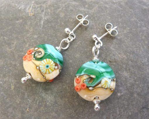 Handmade Sand & Sea Lentil Glass Earrings