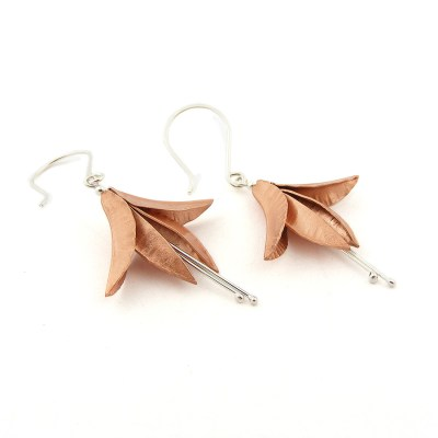 Handmade Copper Fuchsia Earrings