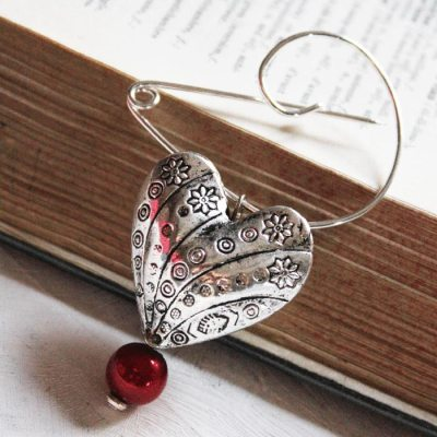 Handmade Swirl Pin Heart Brooch