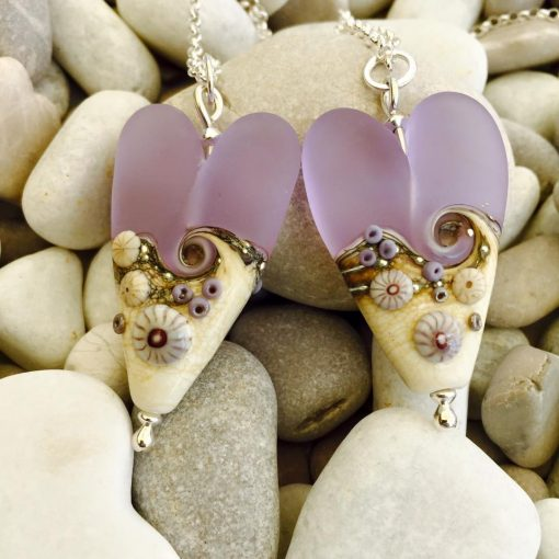 Handmade Sea Mist Heart Necklace